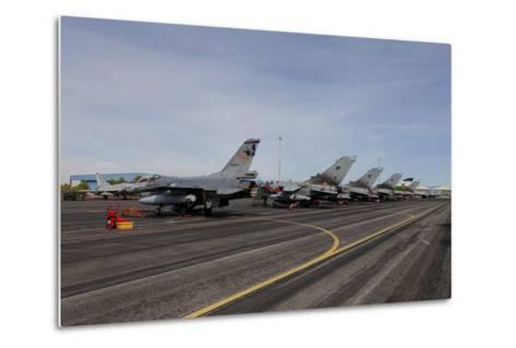 Turkish Air Force F-16 Jets on the Flight Line at Albaacete Air Base, Spain-Stocktrek Images-Metal Print