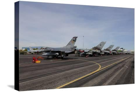 Turkish Air Force F-16 Jets on the Flight Line at Albaacete Air Base, Spain-Stocktrek Images-Stretched Canvas Print