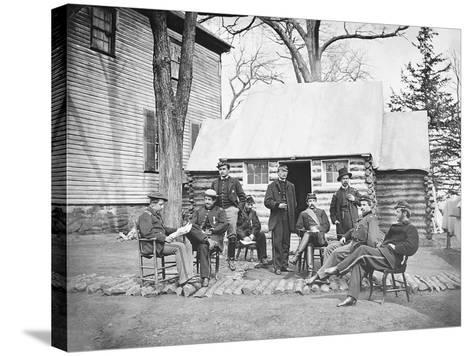 Officers at Headquarters of 6th Army Corps During the American Civil War-Stocktrek Images-Stretched Canvas Print