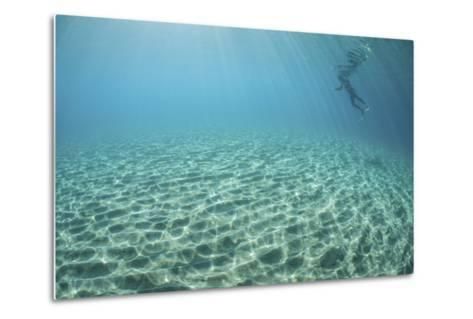 A Diver Hovers Above a Sandy Slope Off the Island of Guadalcanal-Stocktrek Images-Metal Print