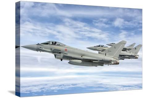 Italian Air Force F-2000 Typhoon Aircraft Fly in Formation-Stocktrek Images-Stretched Canvas Print