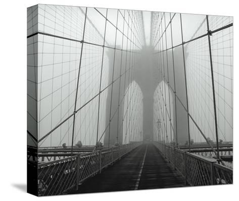 On The Brooklyn Bridge, Fog, Horizontal-Henri Silberman-Stretched Canvas Print