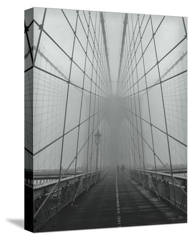 On The Brooklyn Bridge, Fog, People-Henri Silberman-Stretched Canvas Print