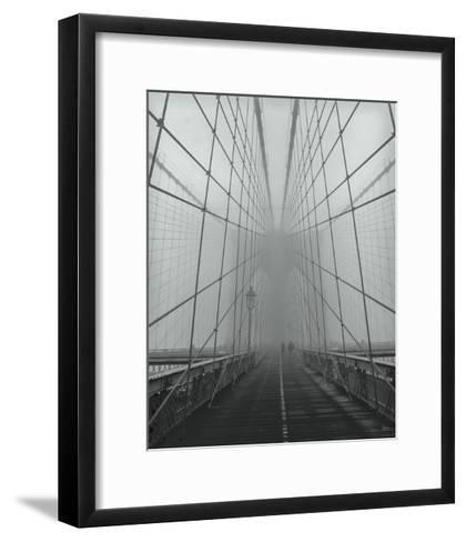 On The Brooklyn Bridge, Fog, People-Henri Silberman-Framed Art Print