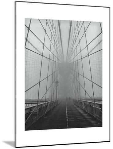 On The Brooklyn Bridge, Fog, People-Henri Silberman-Mounted Photographic Print