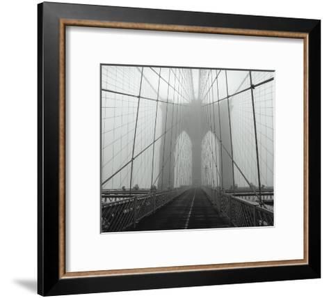 On The Brooklyn Bridge, Fog, Horizontal-Henri Silberman-Framed Art Print