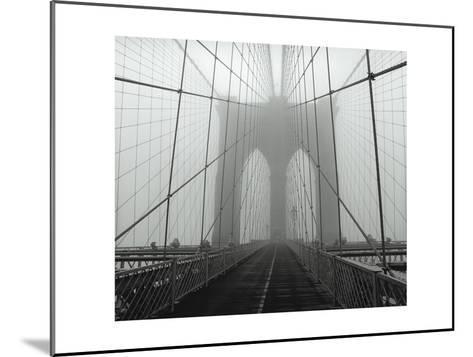 On The Brooklyn Bridge, Fog, Horizontal-Henri Silberman-Mounted Photographic Print