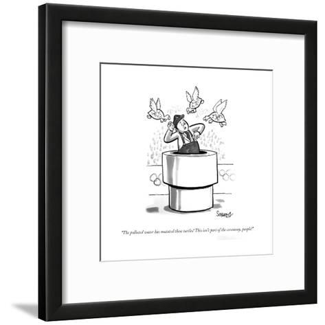 """""""The polluted water has mutated these turtles! This isn't part of the cere?"""" - Cartoon-Benjamin Schwartz-Framed Art Print"""