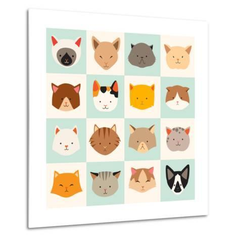 Set of Cute Cats Icons-coffeee_in-Metal Print