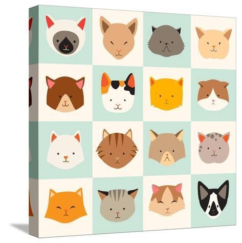 Set of Cute Cats Icons-coffeee_in-Stretched Canvas Print