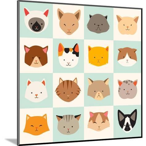 Set of Cute Cats Icons-coffeee_in-Mounted Art Print