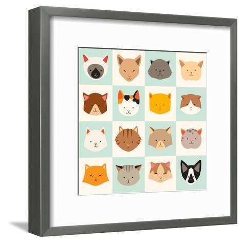 Set of Cute Cats Icons-coffeee_in-Framed Art Print