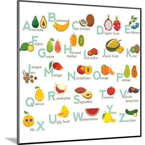Fruits Abc Vector Set. Exotic Tropical Fruits Vegetable Alphabet.-coffeee_in-Mounted Art Print