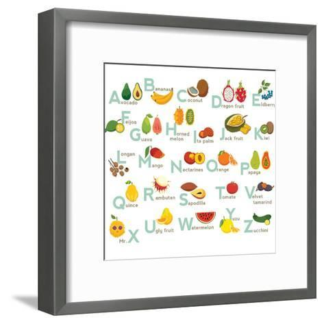 Fruits Abc Vector Set. Exotic Tropical Fruits Vegetable Alphabet.-coffeee_in-Framed Art Print