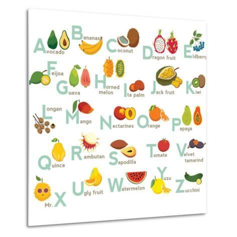 Fruits Abc Vector Set. Exotic Tropical Fruits Vegetable Alphabet.-coffeee_in-Metal Print