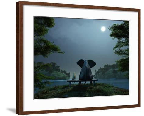 Elephant and Dog Meditate at Summer Night-Mike_Kiev-Framed Art Print