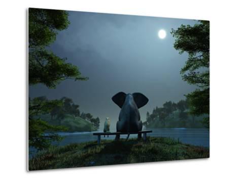 Elephant and Dog Meditate at Summer Night-Mike_Kiev-Metal Print