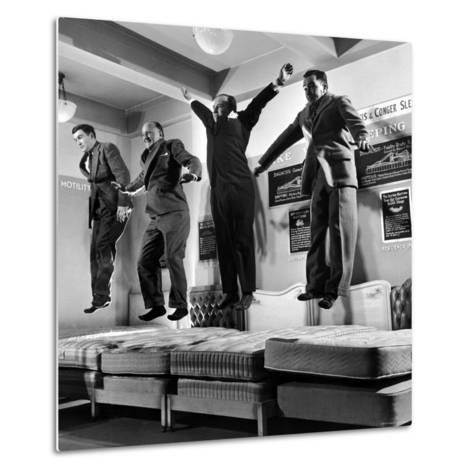 The Salesmen Showing How Not to Test a Bed at Lewis and Conger-George Silk-Metal Print