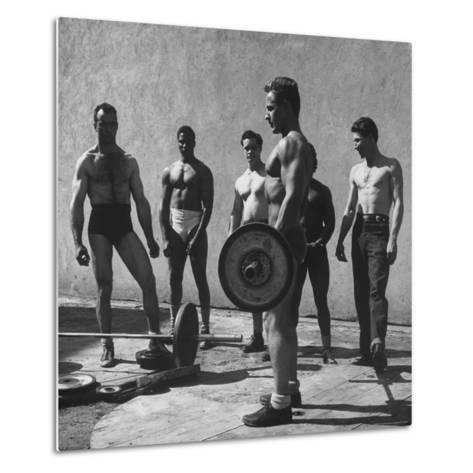 Prisoners at San Quentin Weightlifting in Prison Yard During Recreation Period-Charles E^ Steinheimer-Metal Print