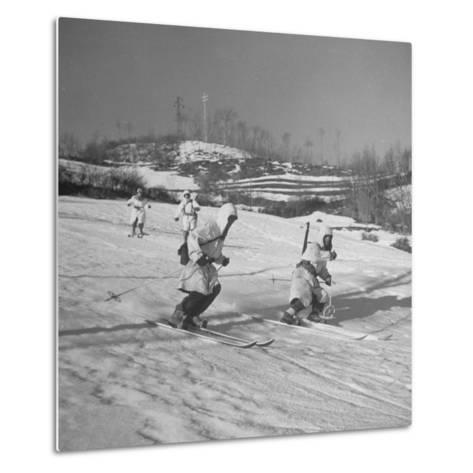 Amer. 10th Mountain Div. Army Ski Patrol, on the Itallian Front in the Appennine Mountains-Margaret Bourke-White-Metal Print