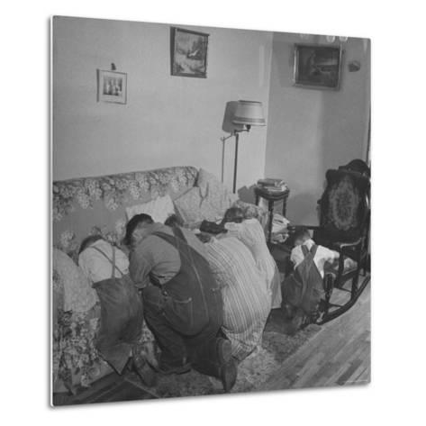 Charles C. Todd and His Family, Praying in the Morning Before Breakfast-Wallace Kirkland-Metal Print
