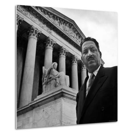 NAACP Chief Counsel Thurgood Marshall Standing on Steps of the Supreme Court Building-Hank Walker-Metal Print