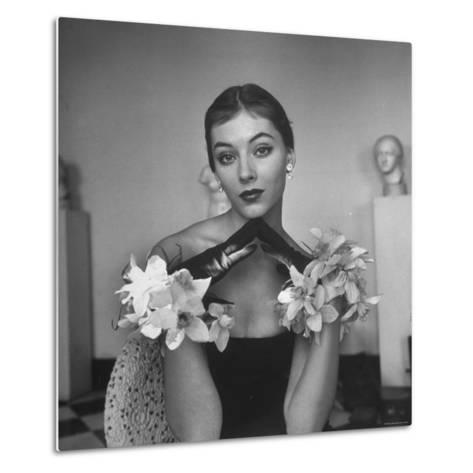 Model Wearing a Flowery Glove While Peering Into the Distance-Nina Leen-Metal Print