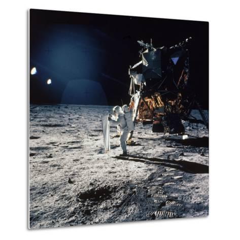 "Apollo 11 Astronaut Buzz Aldrin Unfurling ""Solar Wind Sheet""--Metal Print"