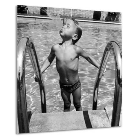 Duncan Richardson, 3-Year-Old Swimming Prodigy, Spouting Water Like a Whale, Town House Pool-Martha Holmes-Metal Print