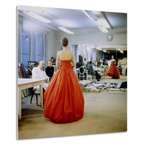 Fashion Designer Christian Dior Commenting on Red Gown for His New Collection Prior to Showing-Loomis Dean-Metal Print