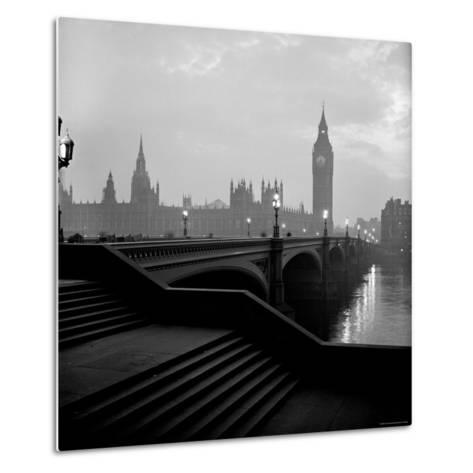 View of the Houses of Parliament as Seen Across Westminster Bridge at Dawn-Nat Farbman-Metal Print