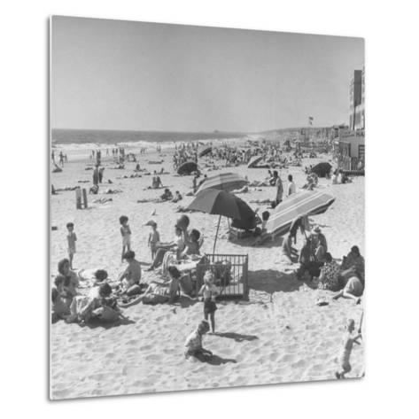 Sun Bathers at Hermosa Beach--Metal Print