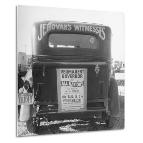 Back of Car Advertising for Jehovah's Witnesses' Activities at Wrigley Field-Loomis Dean-Metal Print