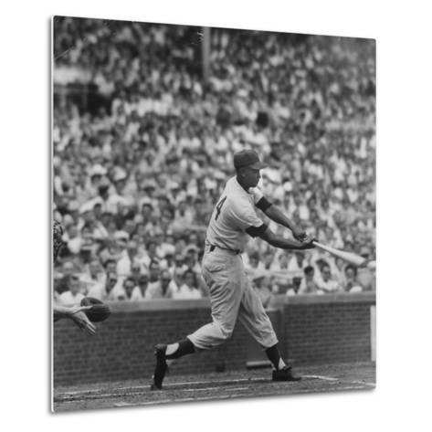 Action Shot of Chicago Cub's Ernie Banks Smacking the Pitched Baseball-John Dominis-Metal Print