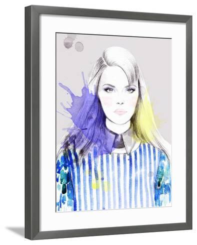 Woman Portrait .Abstract Watercolor-Anna Ismagilova-Framed Art Print