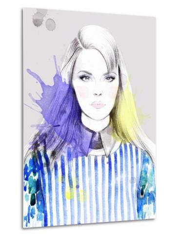Woman Portrait .Abstract Watercolor-Anna Ismagilova-Metal Print
