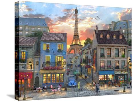 Streets of Paris-Dominic Davison-Stretched Canvas Print