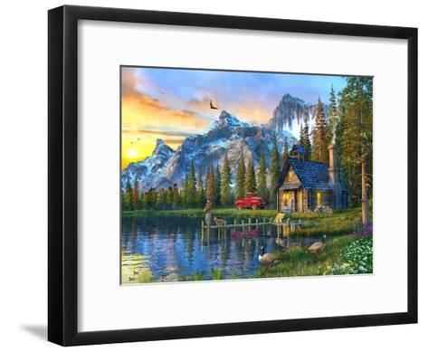 Sunset Log Cabin-Dominic Davison-Framed Art Print