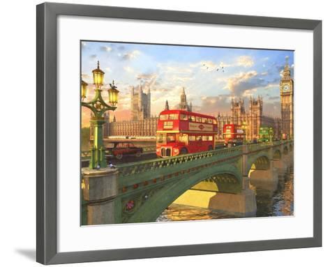 Westminster Bridge Buses-Dominic Davison-Framed Art Print