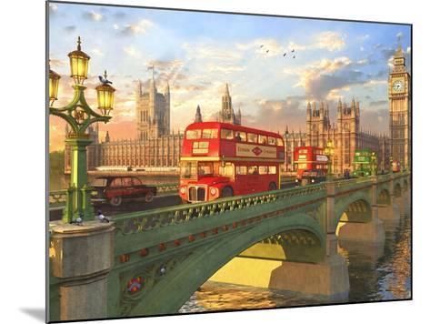 Westminster Bridge Buses-Dominic Davison-Mounted Art Print