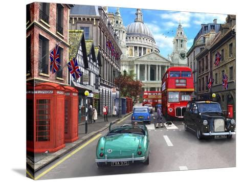 St Paul's Street Scene-Dominic Davison-Stretched Canvas Print