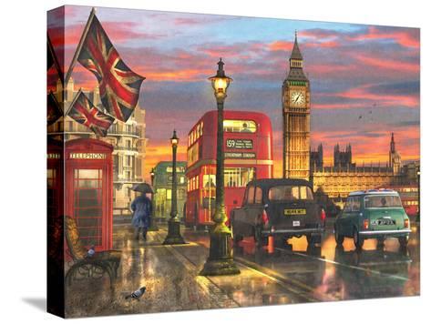 Raining Parliament Square (Variant 1)-Dominic Davison-Stretched Canvas Print