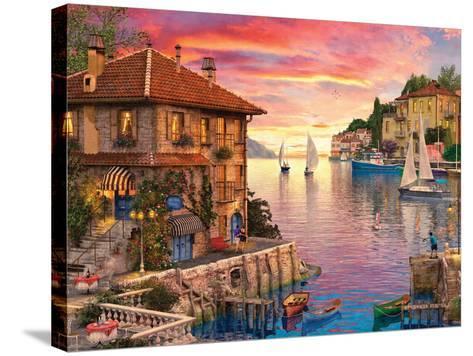 The Mediterranean Harbour-Dominic Davison-Stretched Canvas Print