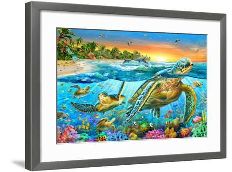 Underwater Turtles-Adrian Chesterman-Framed Art Print