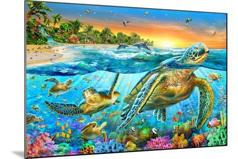 Underwater Turtles-Adrian Chesterman-Mounted Art Print