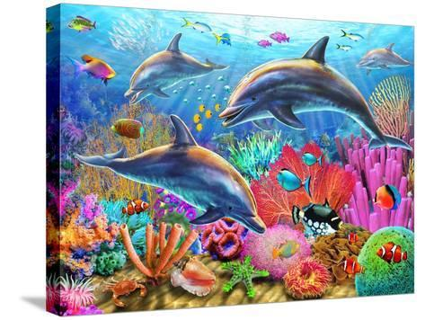 Dolphin Fun-Adrian Chesterman-Stretched Canvas Print