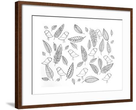 Pattern Bird Feathers-Neeti Goswami-Framed Art Print