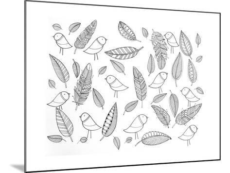 Pattern Bird Feathers-Neeti Goswami-Mounted Art Print
