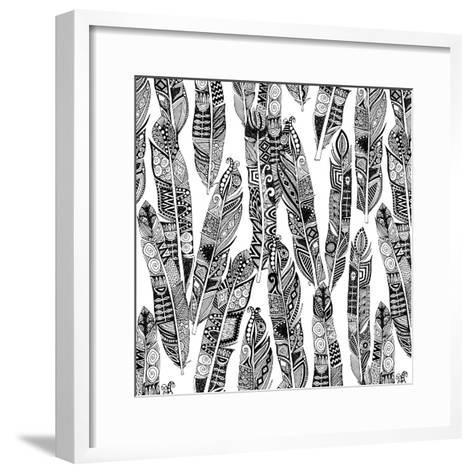 Geo Feathers (Variant 1)-Sharon Turner-Framed Art Print