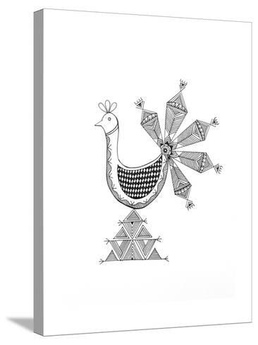 Bird Peacock 1-Neeti Goswami-Stretched Canvas Print